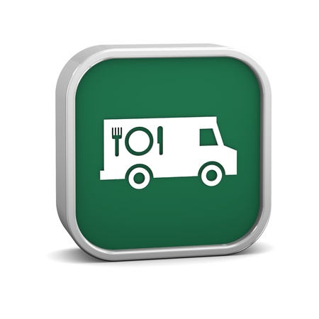 comida rica: Alimentos signo de camiones sobre un fondo blanco. Parte de una serie.