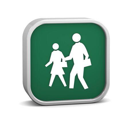 pedestrian sign: Segno pedoni su uno sfondo bianco. Parte di una serie.