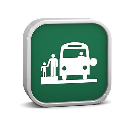 transport scolaire: Stop autobus scolaire sur un fond blanc. Partie d'une s�rie. Banque d'images