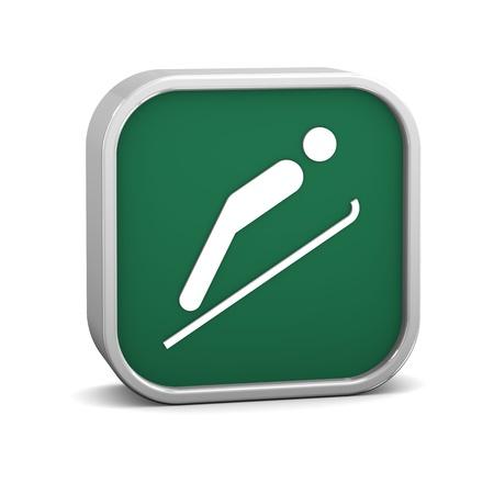 symbol sport: Ski Jump Zeichen auf weißem Hintergrund. Teil einer Reihe.