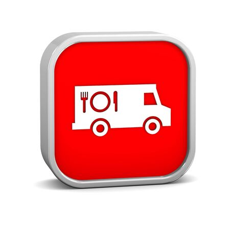 food distribution: Food truck sign on a white background. Part of a series. Stock Photo