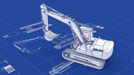 loaders: Excavator Blueprint  Part of a series  Stock Photo
