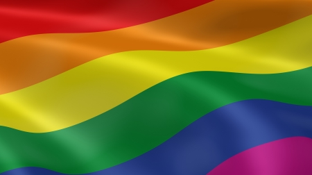 gay pride flag: Gay pride flag in the wind. Part of a series. Stock Photo