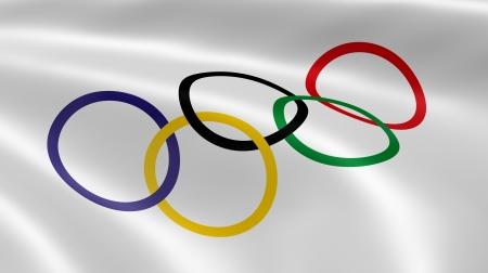 Olympia-Fahne im Wind. Teil einer Reihe. Standard-Bild - 14521182