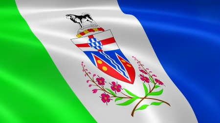 whitehorse: Yukoner flag in the wind. Part of a series. Stock Photo