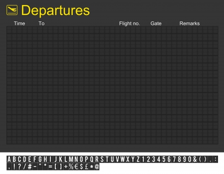 fill in: Empty departures board and characters to fill in Stock Photo