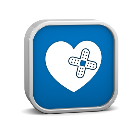 wound care: Heart with Adhesive Bandage sign on a white background. Part of a series.  Stock Photo