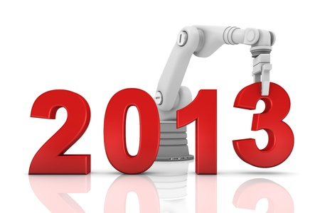 Industrial robotic arm building 2013 year isolated on white background