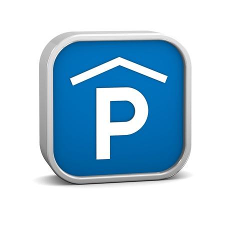 se�al parking: Se�al de aparcamiento cubierta sobre un fondo blanco. Parte de una serie.