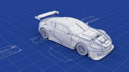 blueprints: Blueprint Race Car  Part of a series  Stock Photo
