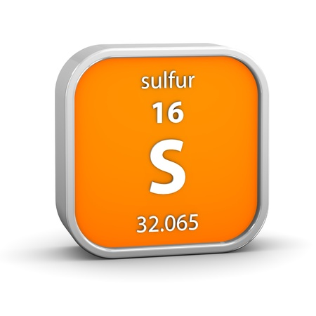 Sulfur material on the periodic table  Part of a series Stock Photo - 17963773