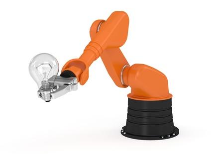 mano robotica: Brazo rob�tico que sostiene la bombilla concepto de imagen y parte de una serie