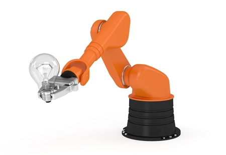 Robotic arm holding light bulb  Image concept and part of a series  Stock Photo