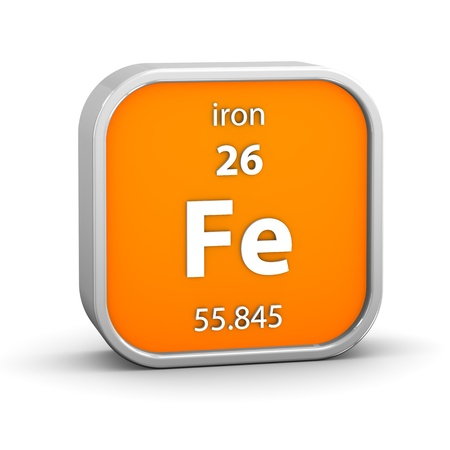 Iron material on the periodic table. Part of a series. photo