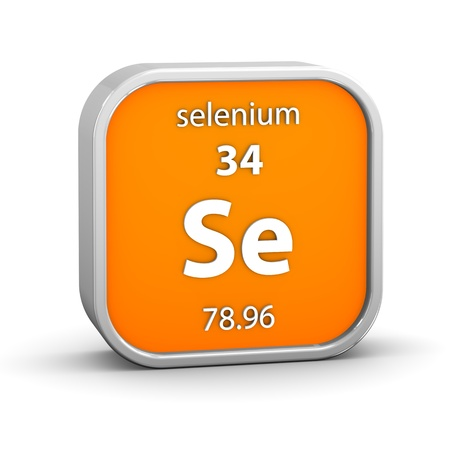 periodic: Selenium material on the periodic table. Part of a series. Stock Photo