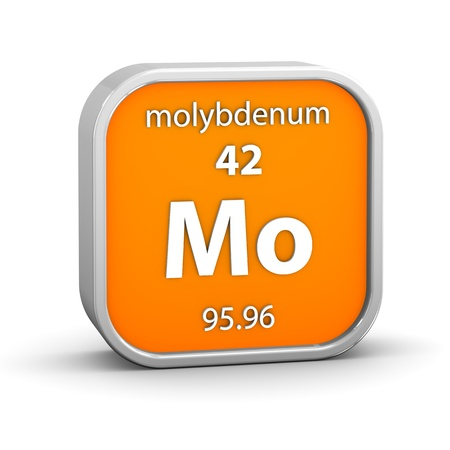 periodic: Molybdenum material on the periodic table. Part of a series. Stock Photo