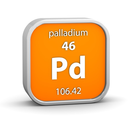 palladium: Palladium material on the periodic table. Part of a series.