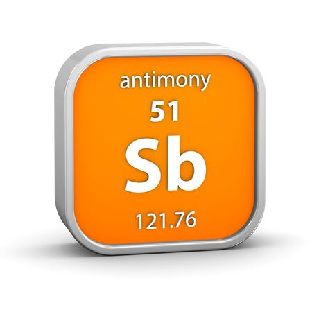 antimony: Antimony material on the periodic table. Part of a series. Stock Photo