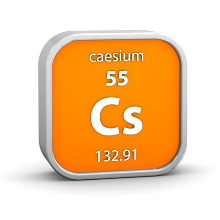 periodic element: Caesium material on the periodic table. Part of a series.