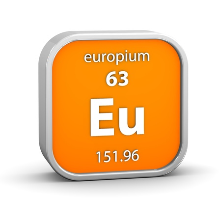 Europium Material On The Periodic Table Part Of A Series Stock Photo