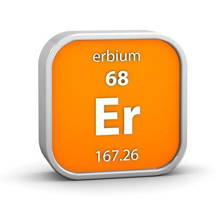 symbole chimique: Matériau Erbium sur la partie tableau périodique d'une série Banque d'images
