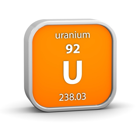 periodic: Uranium material on the periodic table. Part of a series. Stock Photo
