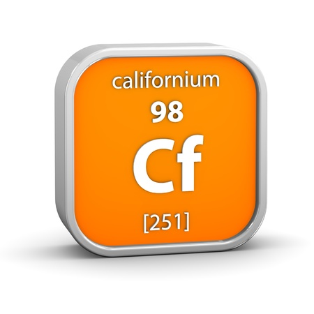 Californium material on the periodic table. Part of a series. Stock Photo - 18861021