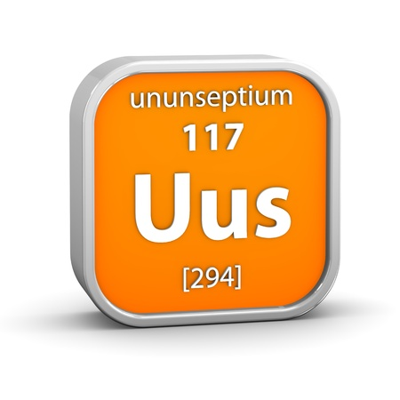 Ununseptium material on the periodic table  Part of a series  Stock Photo - 18861556