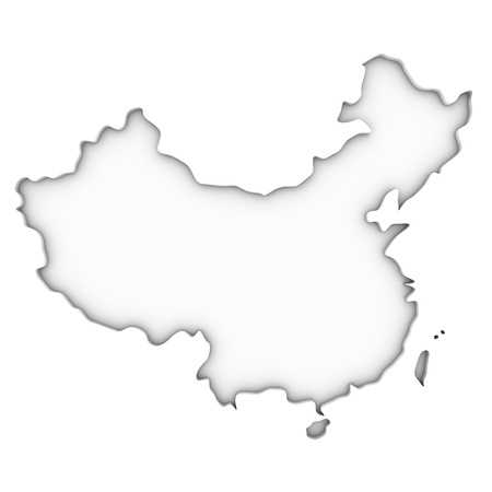 China map on a white background. Part of a series. Stock Photo - 18932984