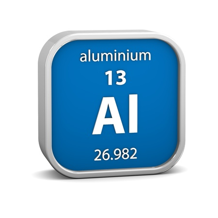 periodic: Aluminium material on the periodic table. Part of a series. Stock Photo