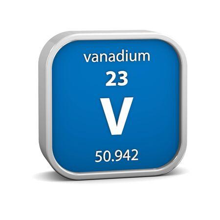 vanadium: Vanadium material on the periodic table. Part of a series. Stock Photo