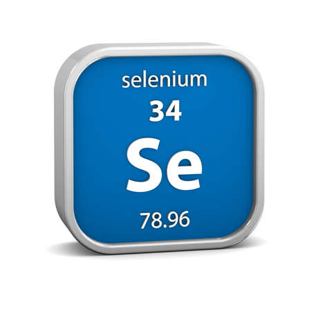 selenium: Selenium material on the periodic table. Part of a series. Stock Photo