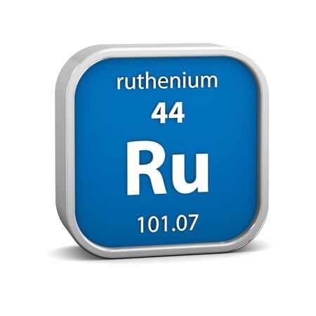 Ruthenium material on the periodic table. Part of a series. photo