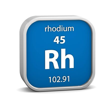rhodium: Rhodium material on the periodic table. Part of a series.