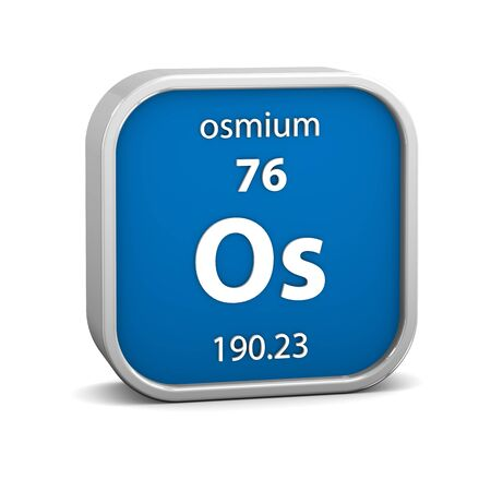 affinity: Osmium material on the periodic table. Part of a series. Stock Photo