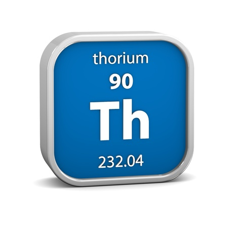thorium: Thorium material on the periodic table. Part of a series. Stock Photo