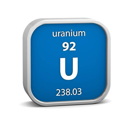 affinity: Uranium material on the periodic table. Part of a series. Stock Photo