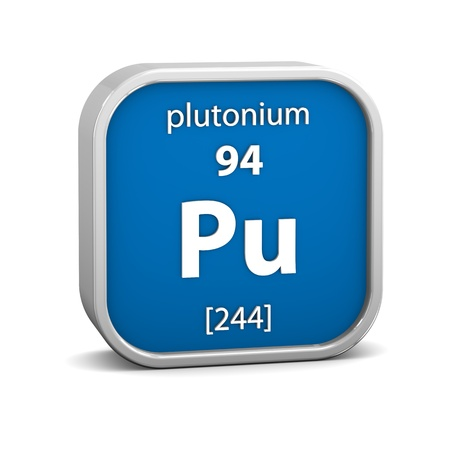 Plutonium material on the periodic table. Part of a series. photo