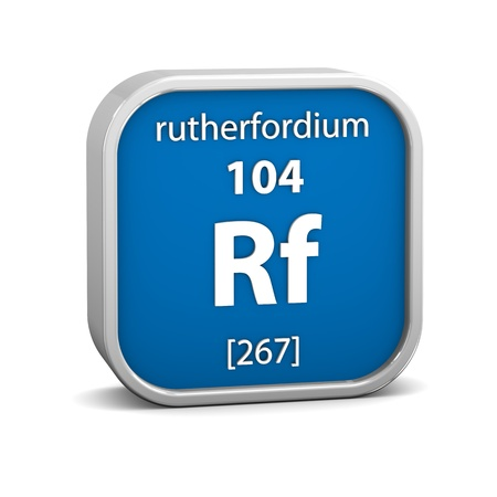 affinity: Rutherfordium material on the periodic table. Part of a series. Stock Photo