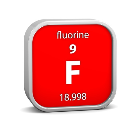 Fluorine material on the periodic table. Part of a series. photo
