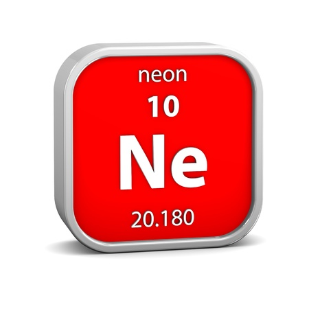 periodic element: Neon material on the periodic table. Part of a series.