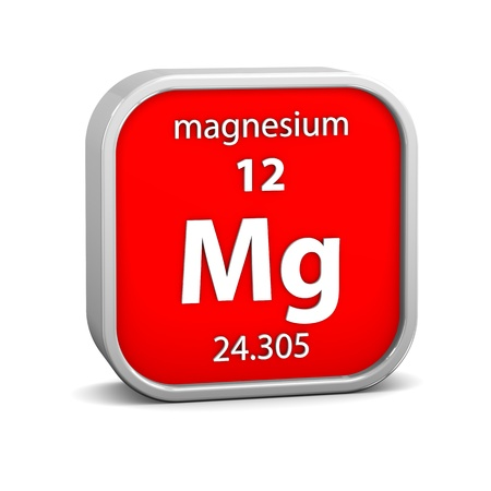 Magnesium material on the periodic table. Part of a series. photo