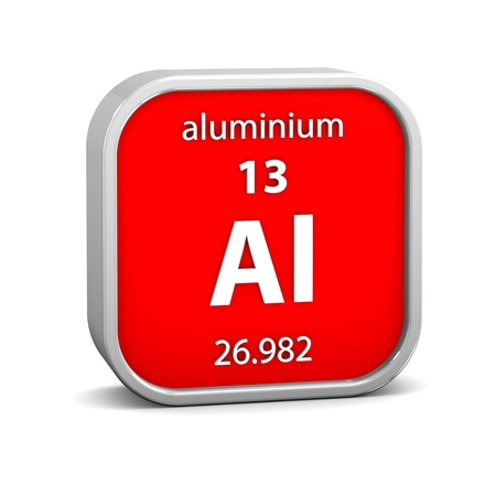 periodic table of the elements: Aluminium material on the periodic table. Part of a series. Stock Photo