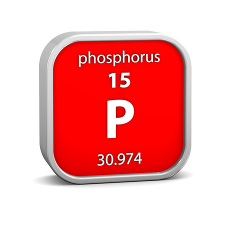 periodic table of the elements: Phosphorus material on the periodic table. Part of a series. Stock Photo