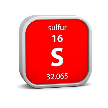 Sulfur material on the periodic table. Part of a series. Stock Photo - 19569210