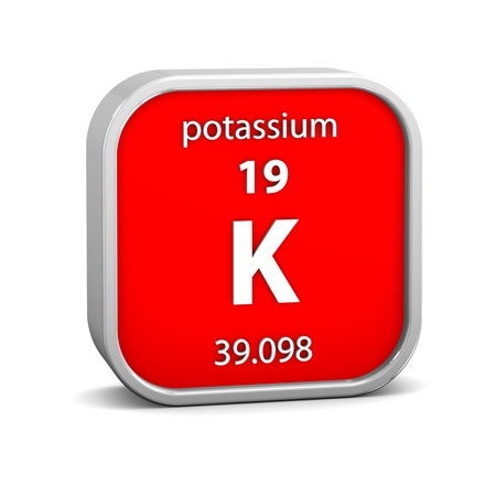 periodic table of the elements: Potassium material on the periodic table. Part of a series.