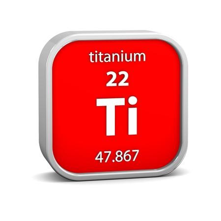 titanium: Titanium material on the periodic table. Part of a series.