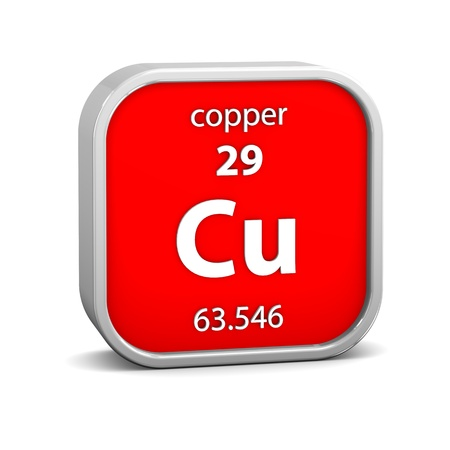 Copper material on the periodic table. Part of a series. photo