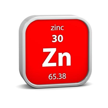 symbole chimique: matériau de zinc dans le tableau périodique. Partie d'une série.
