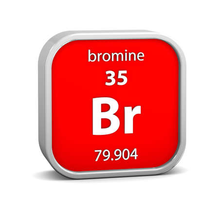 periodic element: Bromine material on the periodic table. Part of a series. Stock Photo